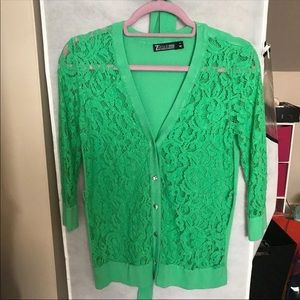 Green Lace Button Down Cardigan Sweater